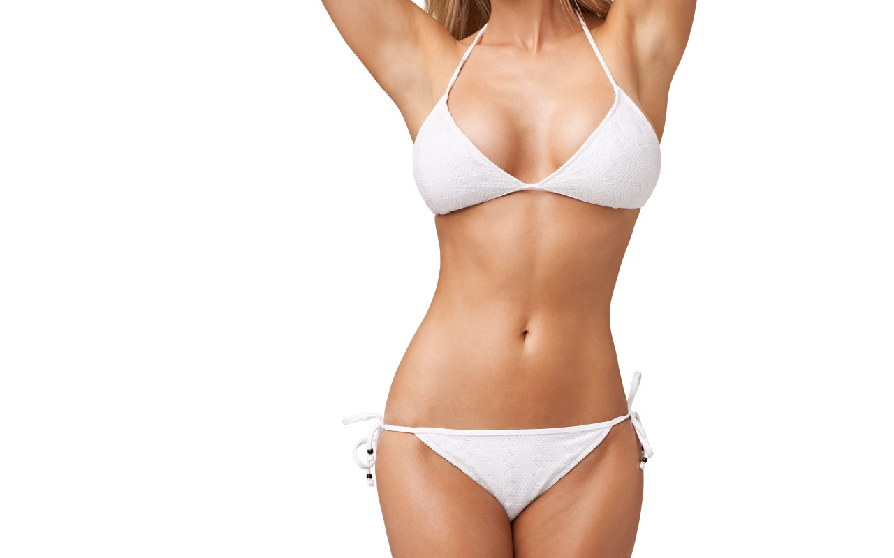 Woman's torso showing possible effects of body contouring